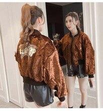 NiceMix Spring Fashion Gold Velvet Jacket Women 2019 Autumn Stand Collar Long Sleeve Short Coat Loose Plus size Sequin Bomber Ou
