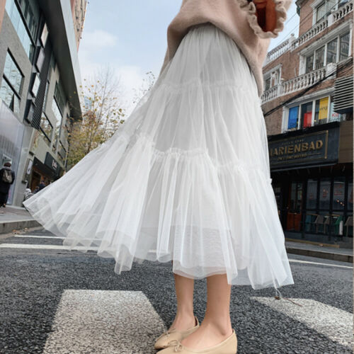 Women Girls Layers Tulle Skirt Long Princess Tutu Mesh Splicing High Waist Skirts Party Flared Pleated Solid A-line Summer Skirt