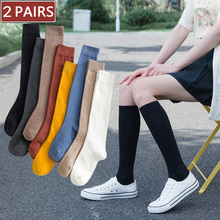 2 Pairs Women Cotton Knee High Socks Black White Solid color Fashion Casual Calf Sock Female Girl Party Dancing Sexy Long Socks