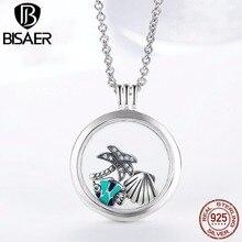 Oryginalne 925 srebro średnie Petite wspomnienia pływające naszyjniki medalion i wisiorki kobiety srebro biżuteria EDF001