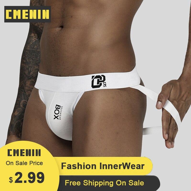 CMENIN 2020 Sexy Gay Men Underwear Jockstrap Thongs Cotton Breathable Print Men Underpants Cueca Male Panties Lingerie Men OR213
