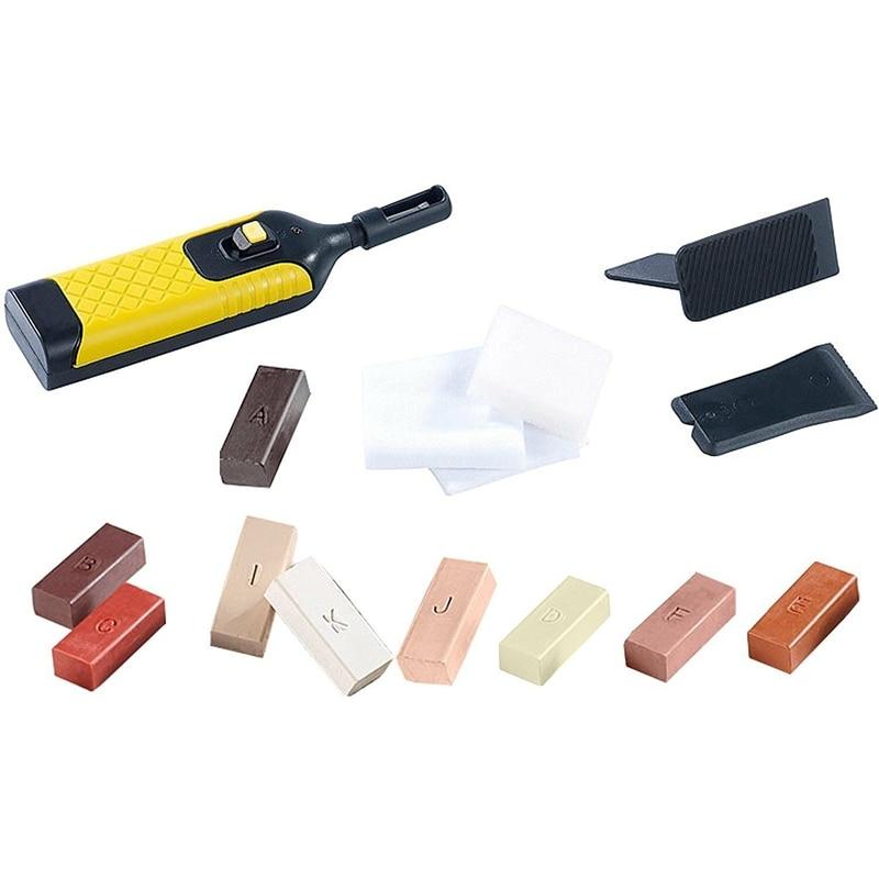 19Pcs Laminate Repair Kit Wax System Floor Worktop Sturdy Case Chips Scratches