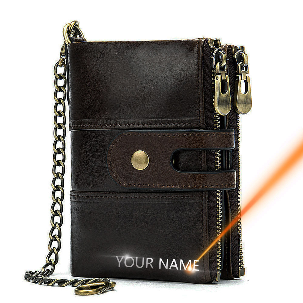 2020 New Men Wallets Anti-theft Chain Name Engraving Zipper Male Purse Long 100% Genuine Leather Vintage High Quality Men Wallet