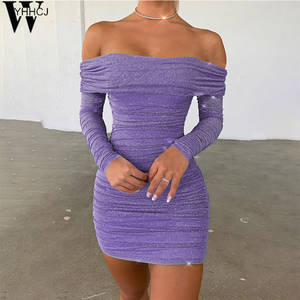 WYHHCJ Mini Dresses See-Through Long-Sleeve Purple Backless Elastic Ruched Newoff-Shoulder