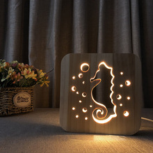 Searhorse warm LED night light wood solid pine carved hollow table lamp creative USB decorative mood bedroom table light gift 8pcs lot creative 100% solid wood sepak takraw colorful led night light children s bedroom bedside led table lamp birthday gift