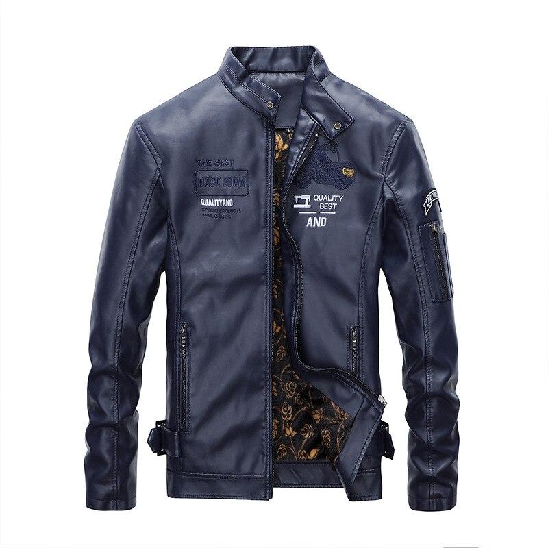 Autumn Winter Men's Faux Leather Jacket Vintage Motorcycle Warm Fashionable Biker Clothes Coat Male Moto Black Fleece Jacket Men