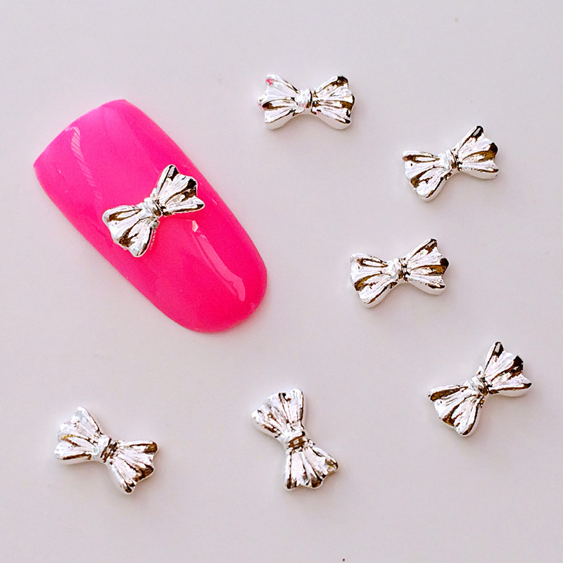 Japanese-style Metal Nail Ornament Alloy Accessory Gold And Silver Bow Stereo DIY Phototherapy Nail Sticker Small Accessories