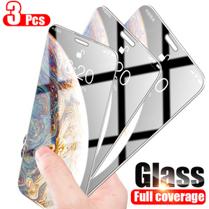 Full Cover Glass on the For iPhone 7 8 6 6s Plus Tempered Glass For iPhone X XS Max XR 5 5S SE 11 Pro Max Screen Protector(China)
