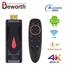 안드로이드 10 TV 스틱 X96 S400 Allwinner H313 쿼드 코어 2 기가 바이트 16 기가 바이트 스마트 TV 박스 4K 60fps H.265 2.4G 와이파이 구글 미디어 플레이어 동글