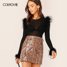 COLROVIE Black Faux Feather Detail Fitted Mesh Top Without B