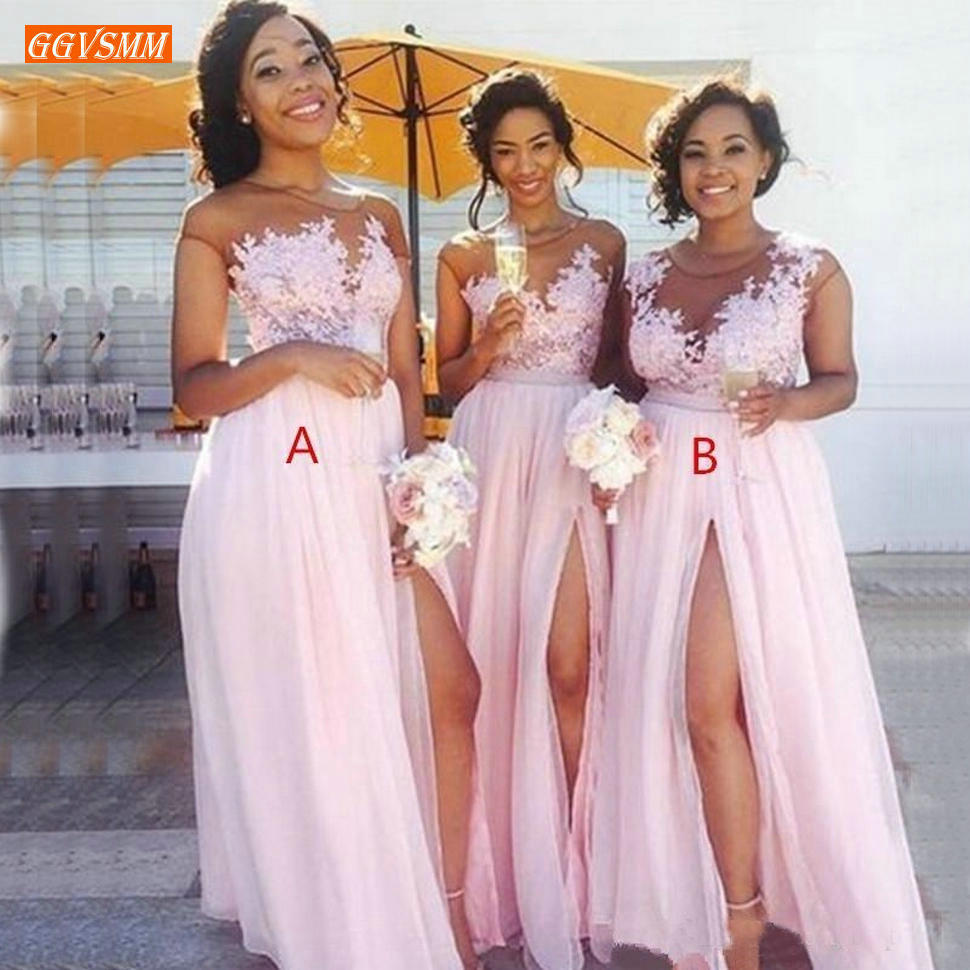 New Pink O Neck Bridesmaid Dresses Long Chiffon Side Slit A Line Wedding Formal Occasion Dress Lace Applique Maid of Honor Gowns