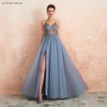 Spaghetti Straps Soft Tulle Blue Prom Dresses with Bead Bodice Sexy High Slit Long