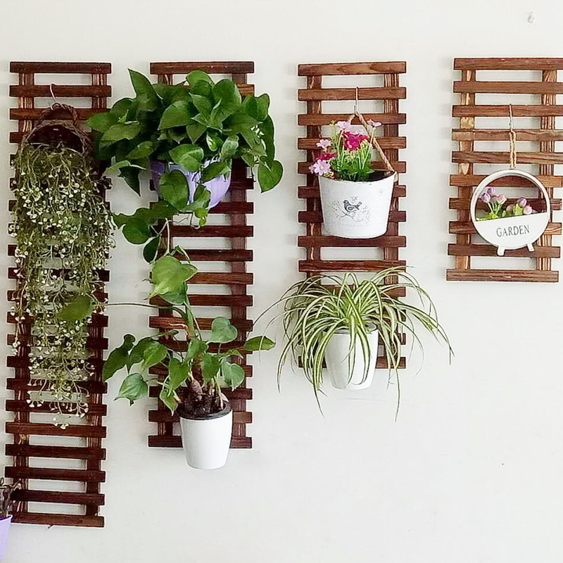 Wall Hanging Flower Airs Exemption Punch Holes Crane Green Luo Wall Flower Rack A Living Room Balcony Botany Suspension Frame