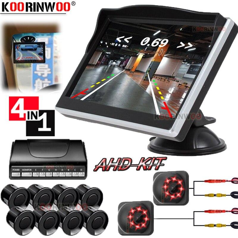 Koorinwoo парктроник видео 8 сенсор передняя + задняя обратная парковка сенсор s зонды ЖК монитор парковочная помощь звуковой сигнал тревоги