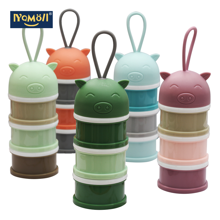 3 Layer Portable Safe Formula Dispenser Baby Food Container Candy Fruit Food Storage Cartoon Piggy Milk Powder Box Snack