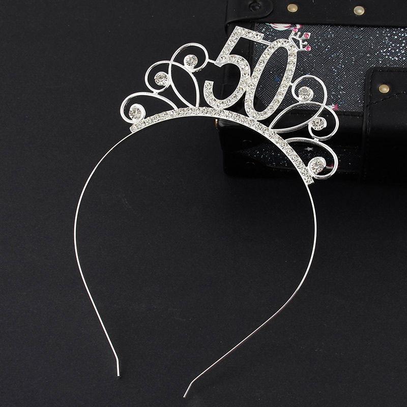 50 <font><b>Birthday</b></font> <font><b>Party</b></font> Crystal Tiara Crown <font><b>Birthday</b></font> Queen Headband Hair Accessories for Women Happy <font><b>50th</b></font> <font><b>Birthday</b></font> <font><b>Party</b></font> Decorations image