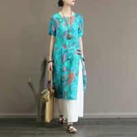 Original de alta-grade pura rami impresso vestido no verão é fina, solto, médio e longo saia pullover com divisão lateral