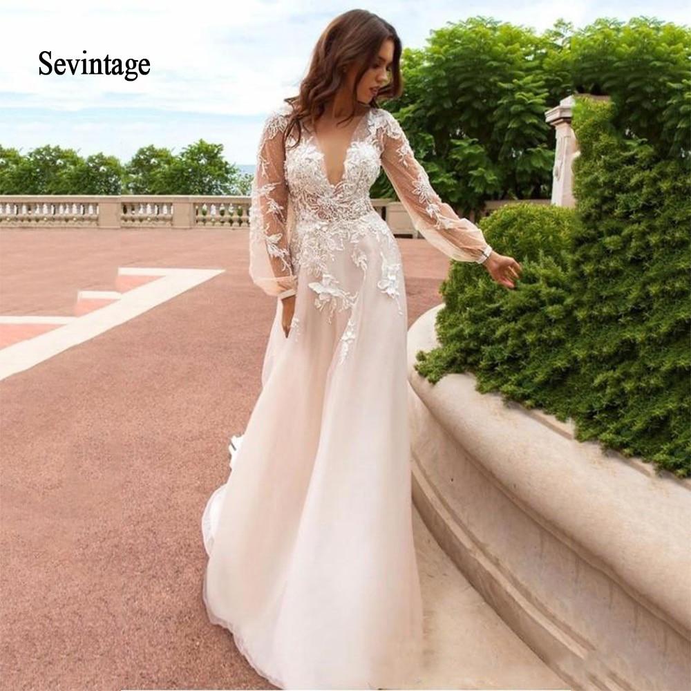 Sevintage Long Puff Sleeve Wedding Dress Boho Deep V Neck Lace Appliques Bridal Gowns Illusion Buttons Back Bride Dresses