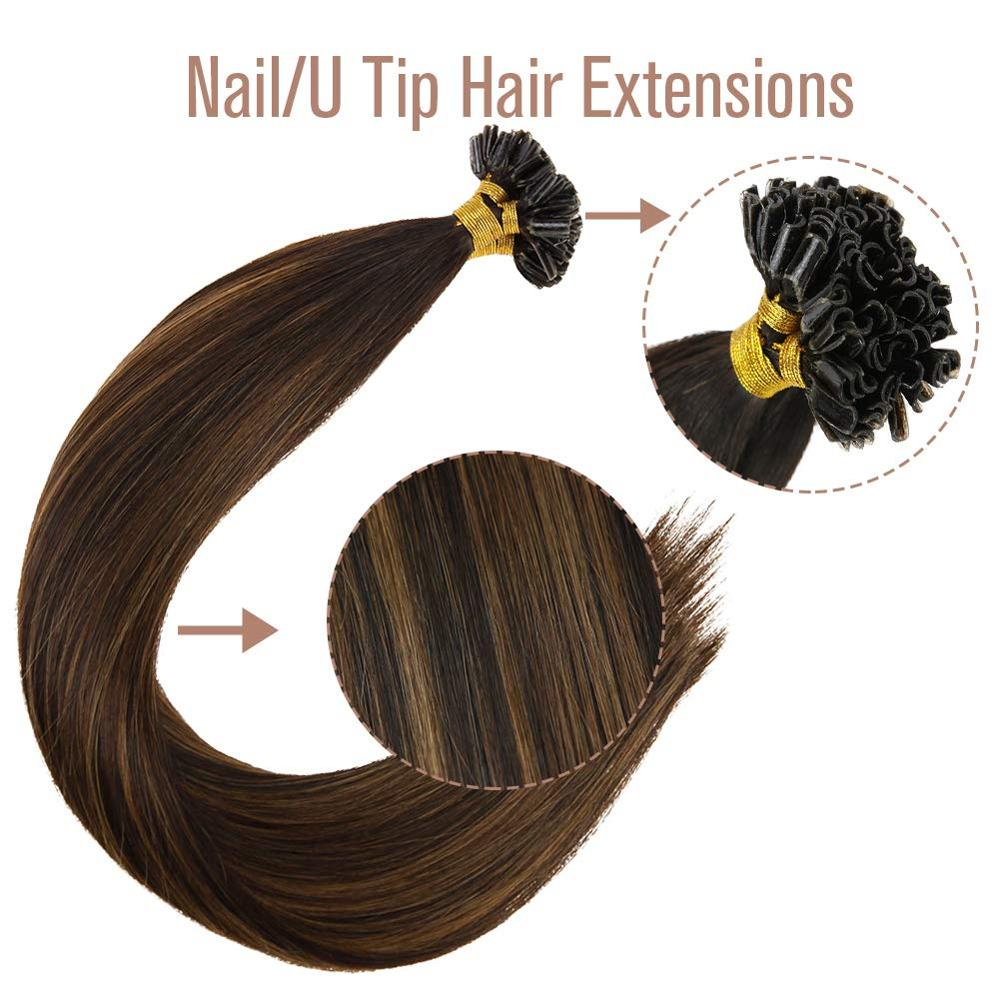 VeSunny Pre Bonded Keratin U Tip Hair Extensions 100% Real Human Hair 1gr/strand 50gr Per Set 14-24 Inches