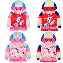 Baby Girls Clothes tops Cartoon Hoodie Sweatshirt for baby kids Unicorn Pattern Dress Hooded Coat Autumn CP081