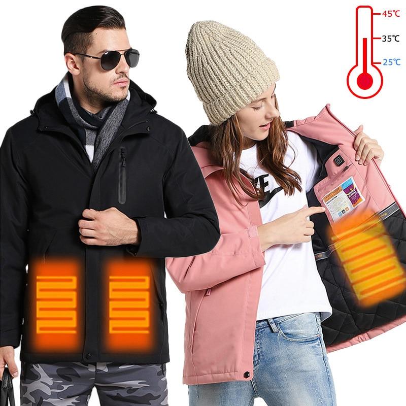 2019 nouveau USB chauffé Ski costume imperméable Snowboard veste coupe-vent veste de Ski hommes grande taille chaud hiver veste femmes homme