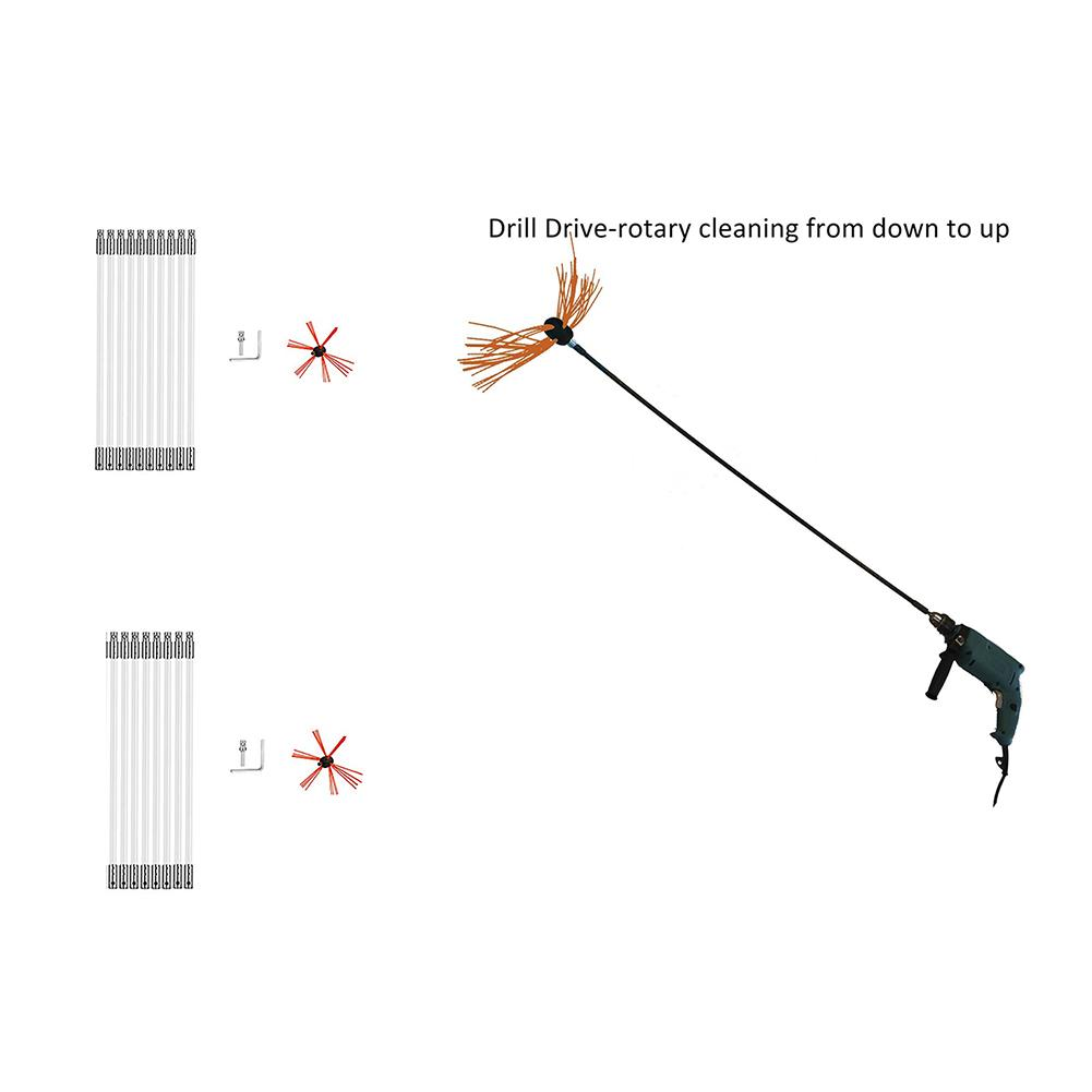 All in One 10 rods Chimney Brush-Drill Powered Cleaning Sweeping Kits with Nylon Flexible Rods