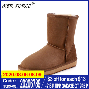 MBR FORCE New Fashion High Quality Real Sheepskin Leather Snow Boots for Women Shearling Fur Wool Lined Winter Shoes Large Size top fashion 2018 real wool botas mujer high quality genuine sheepskin leather snow boots natural fur waterproof women shoes