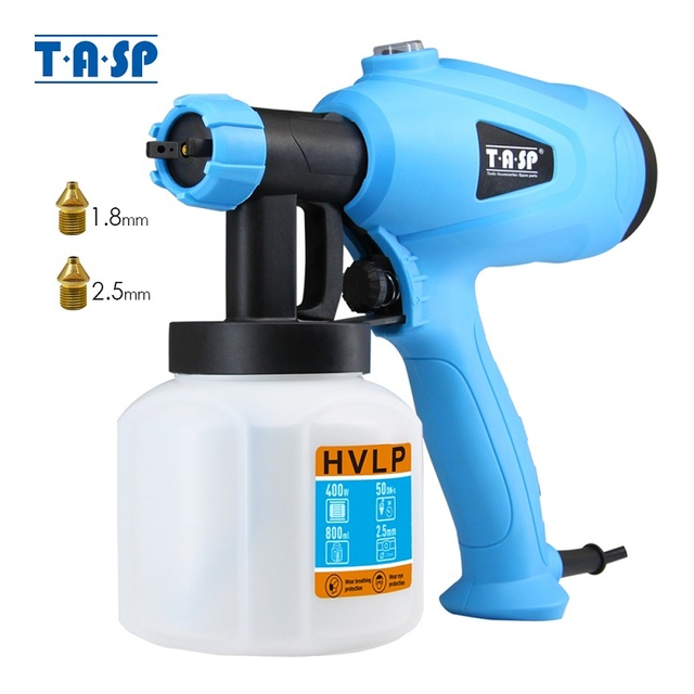 TASP Electric Spray Gun 400W HVLP Paint Sprayer Compressor Flow Control Airbrush Power Tools Easy Spraying & Clean 120V/230V