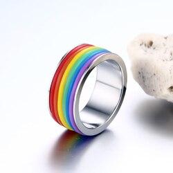 Разноцветное мужское женское Радужное цветное кольцо из ЛГБТ-пулсера, обручальное кольцо из нержавеющей стали, лебянские и гей кольца, Прям...