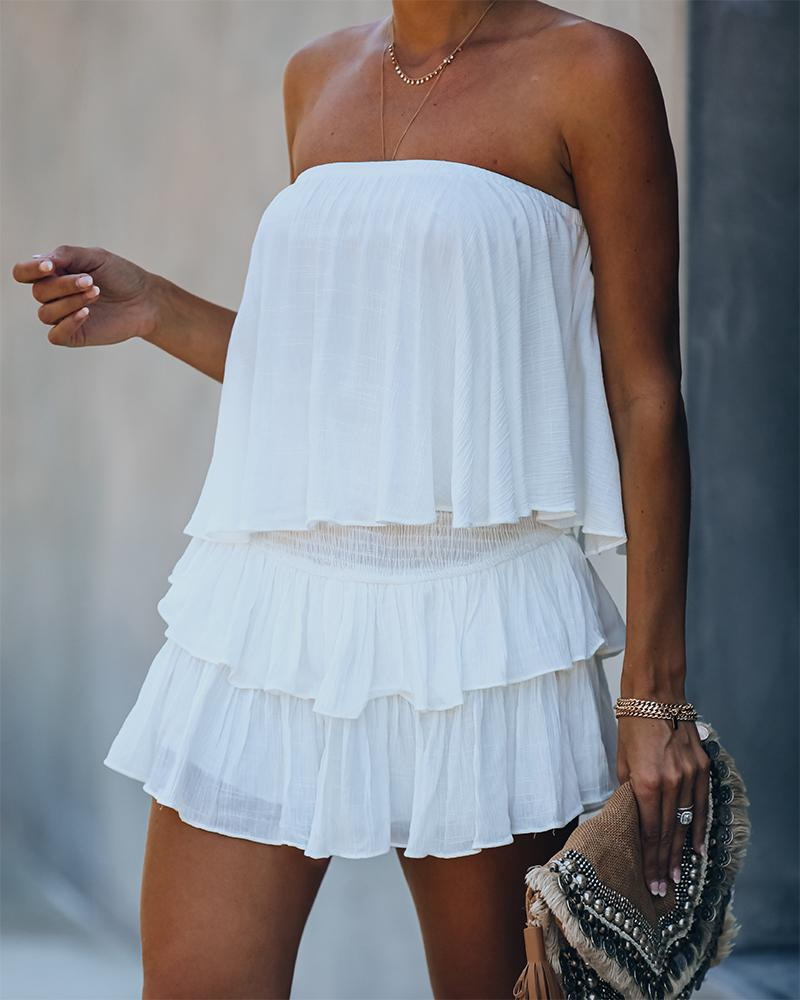2020 Fashion Women Summer Elegant Off Shoulder Layered Ruffle Romper Lady Solid Sleeveless Casual Playsuit
