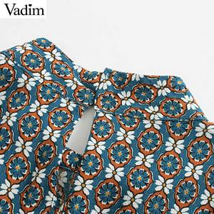 Image 5 - Vadim נשים הדפסת בציר חולצה ארוך פאף שרוול ציפר לקשט משרד ללבוש חולצות נקבה מקרית שיק בסיסי צמרות blusas LB717