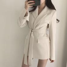 Fall Winter Women Elegant Solid Lace Up Blazer Office Ladies Belt Jackets Formal Pockets Notched