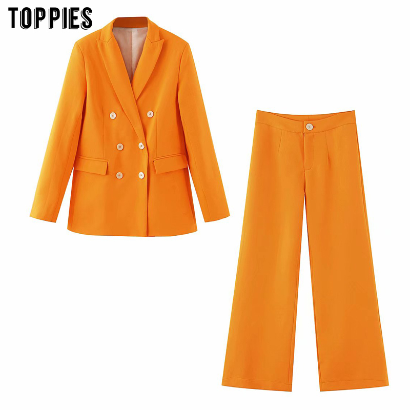 Toppies Summer Ladies Suits Set Women Two Piece Set Office Formal Blazer And Pants Solid Color