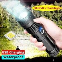 드롭 배송 XHP50.2 가장 강력한 LED 손전등 48W USB 줌 LED 토치 XHP50 18650 또는 26650 충전식 전술 손전등