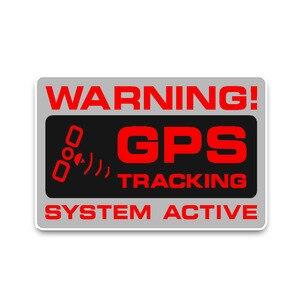 Zderzak ostrzeżenie nadajnik GPS System policji naklejki samochodowe pcv okno samochodu zderzak szyby motocykl 12cm X 7cm