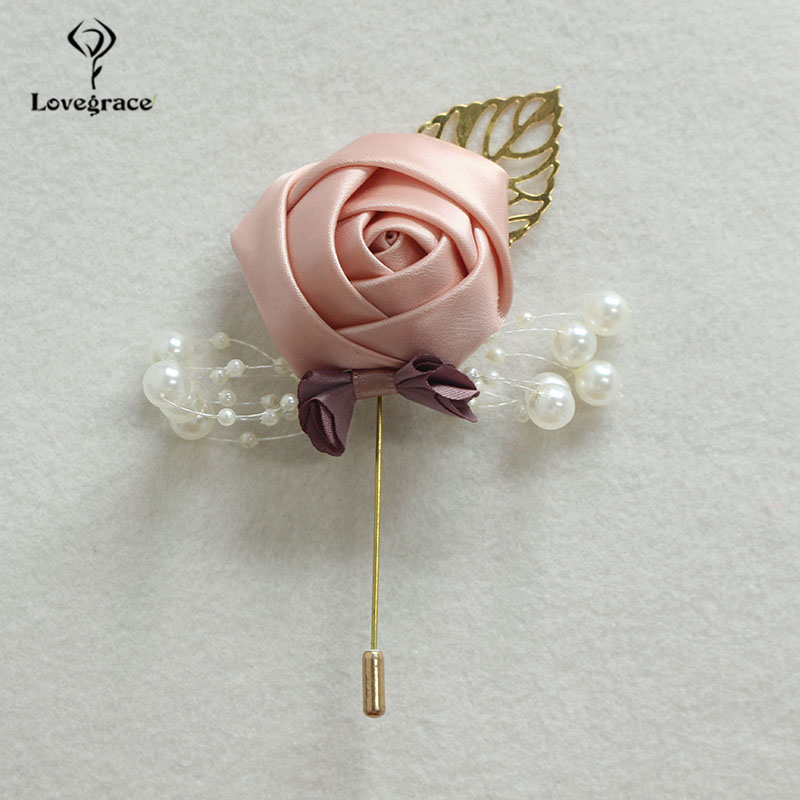 Lovegrace Brooch Pins Men Wedding Corsage Silk Rose Boutonniere Fake Pearl Meeting Party Prom Decor Girl Bridegroom Boutonniere