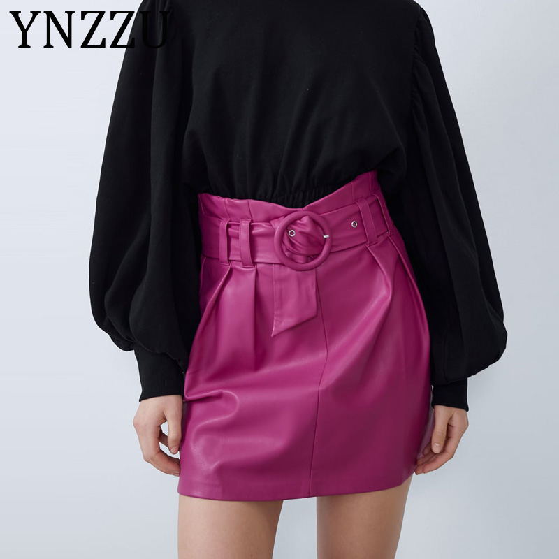 YNZZU Rose Red Elegant PU Faux Leather Skirt Women 2020 Spring Autumn High Waist Female Mini Skirts Bodycon Women Bottoms AB277
