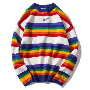 Image 5 - Hommes femmes chandail surdimensionné arc en ciel rayé col rond tricots couture couleur mode Style décontracté à manches longues pull