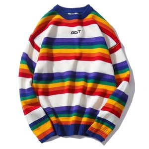 Image 5 - Men Women Oversized Sweater Rainbow Striped Round Neck Knitwear Stitching Color Fashion Casual Style Long Sleeve Pullover