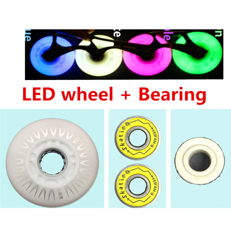90A LED Wheel + ILQ11 Bearing LED Flash Roller Skates Tyre Inline Skating ILQ-11 Light Shine Kids Adults 60 62 64 68 70 72 76 80