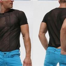 Mens Run Sports Cotton T-shirt Gym Fitness Bodybuilding Short sleeve Slim t shirt Male Workout Training Tee Tops