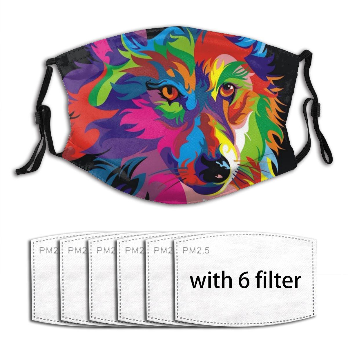 Colorida da Poeira dos Lobos da Pintura com Filtro de Carbono Adulta da Boca-muffle Pm2.5 para a Cara Máscara Ativado Reutilizável