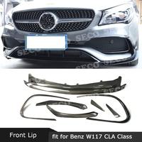 For Mercedes Benz CLA Class W117 CLA45 AMG 2016 2019 Carbon Fiber / ABS Front Bumper Lip Spoiler Splitters Canards Vents