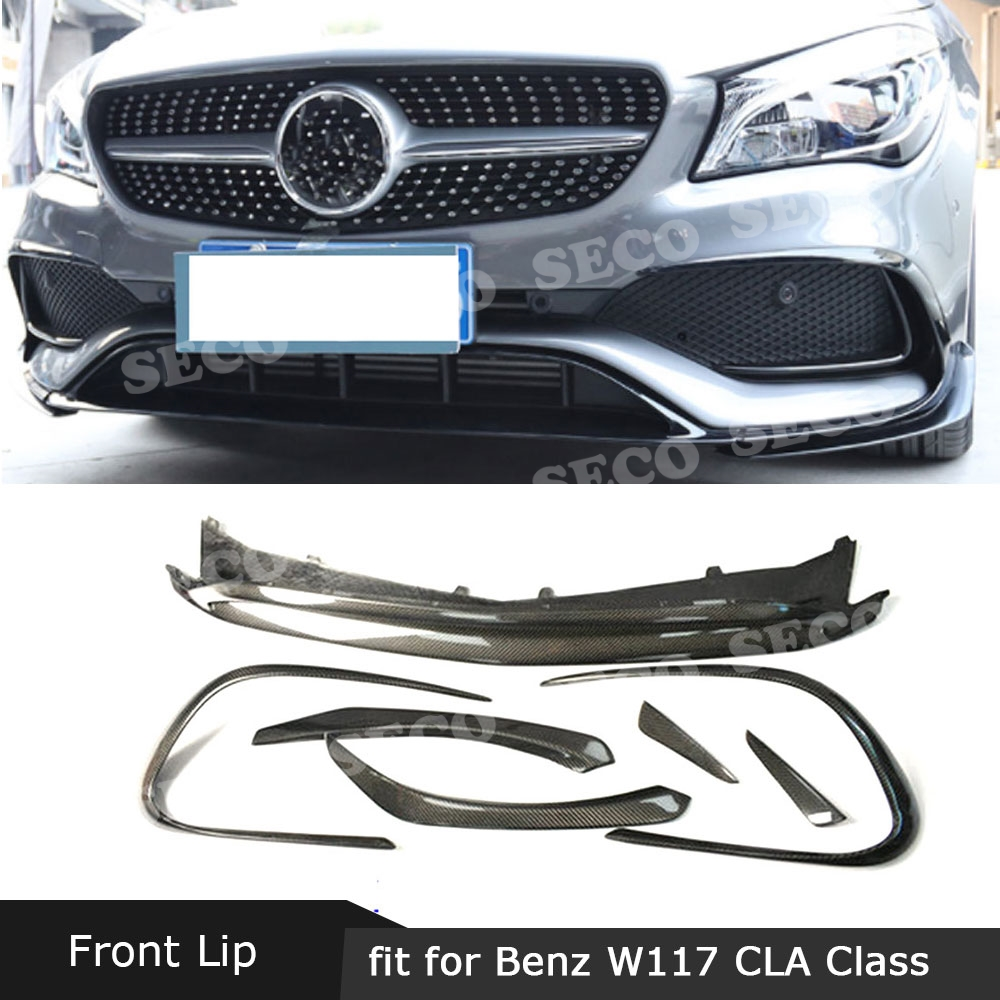 For <font><b>Mercedes</b></font> Benz CLA Class W117 <font><b>CLA45</b></font> <font><b>AMG</b></font> 2016-2019 Carbon Fiber / ABS Front Bumper Lip Spoiler Splitters Canards Vents image