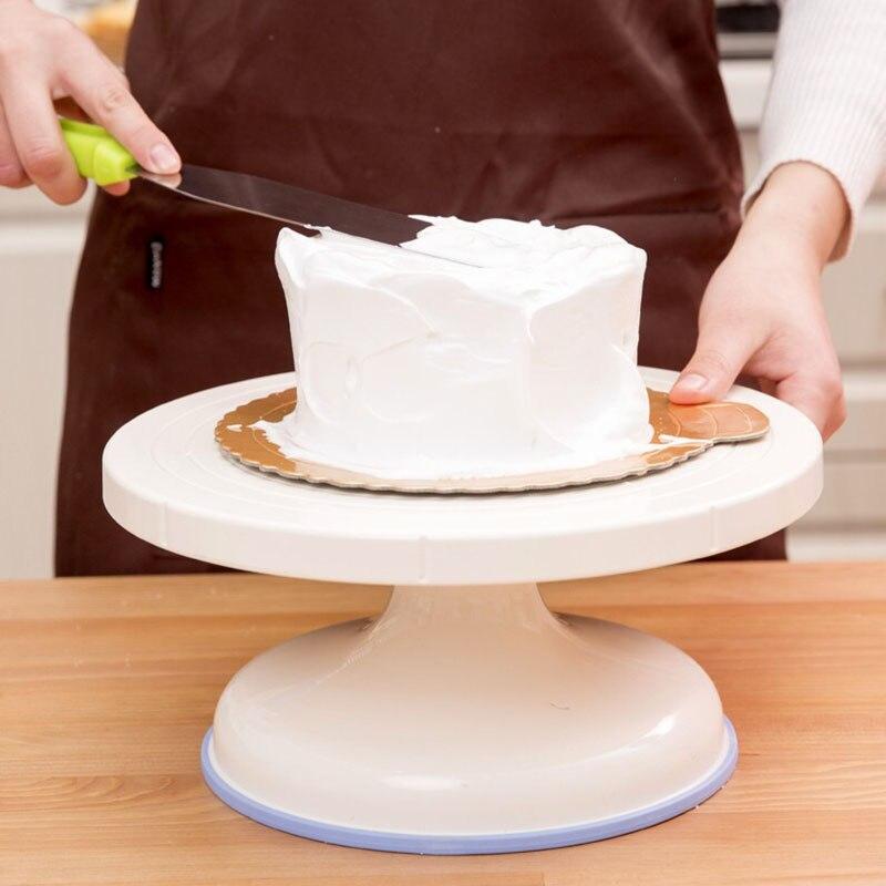 Plastic Cake Plate Turntable Rotating Anti-skid Cake Stand Cake Decorating Rotaring Table Cake Spatula DIY Baking Kitchen Tool
