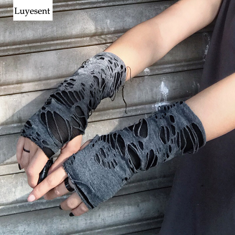Punk Black Broken Slit Gothic Unisex Glove Fingerless Cuff Ninja Sport Hole Mitten 2020 Cool Women Men Hollow Out Rock Gloves