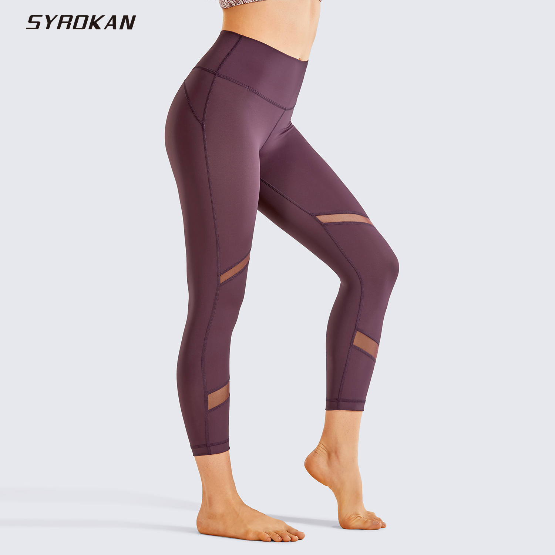 SYROKAN Women's Naked Feeling Mid-Waist Mesh Panels Splice Tights Yoga Capri Workout Leggings -21 Inches