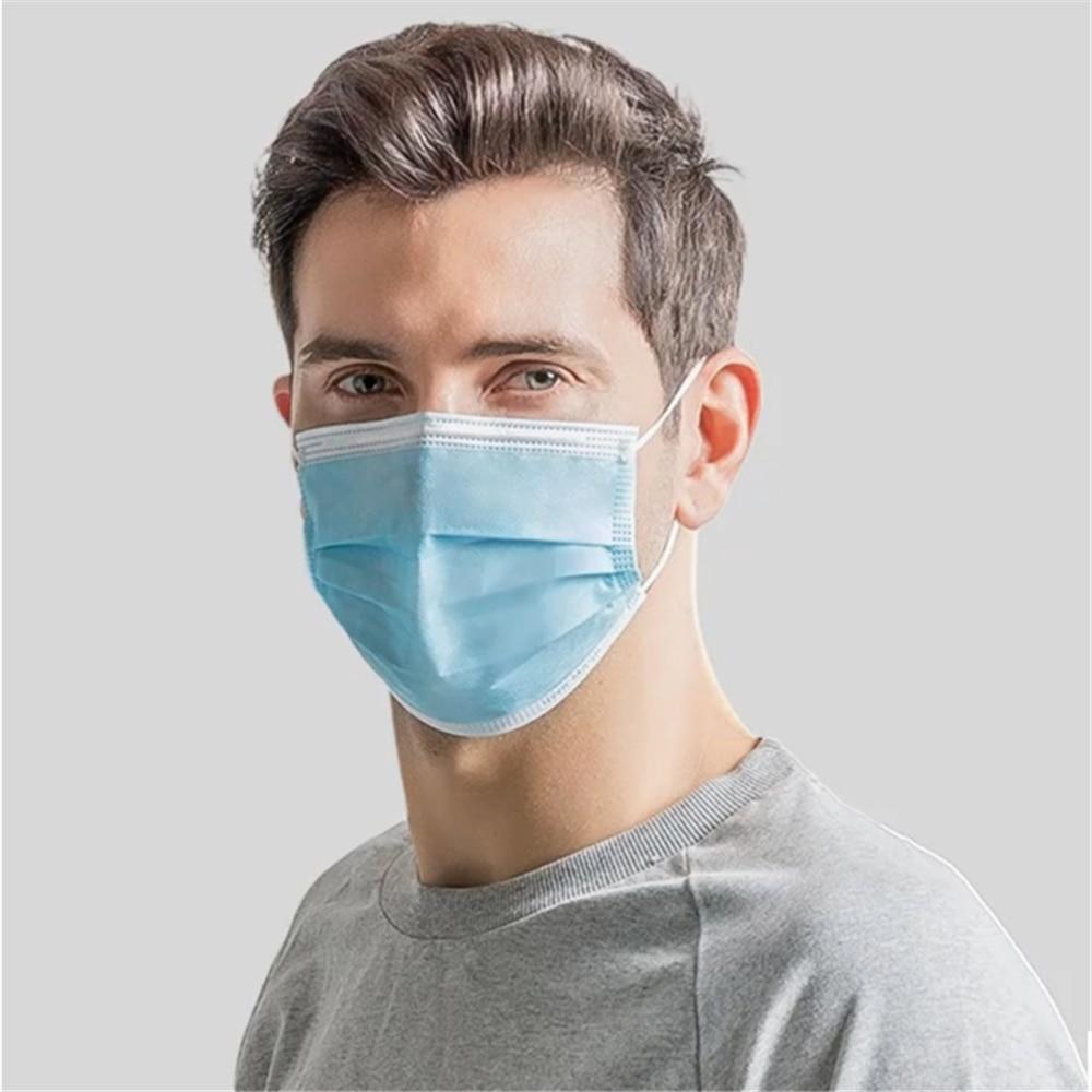 Masque médical jetable Anti-poussière à trois couches, filtre, boucles auriculaires, masque facial Non tissé respirant, expédition sous 12 heures 4