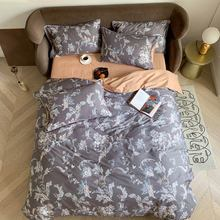 Svetanya Grey European Flowers Nordic Egyptian Cotton Bedding Set Print Flat Fitted Sheet Pillowcase Duvet Cover Sets Bed Linens