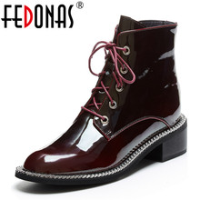 FEDONAS Women Genuine Cow Patent Leather Ankle Boots Winter Short Boots for Women Big Size Riding Boots Night Club Shoes Woman